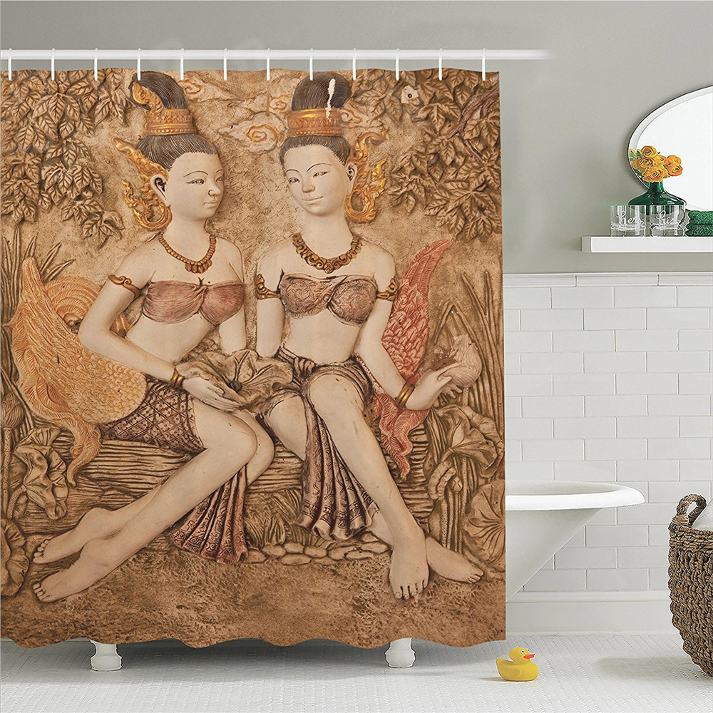 Sculptures Native Thai Style Molding Art Asian Traditional Attire Temple Culture Image Polyester Bathroom Shower Curtain Set