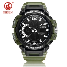 цена NEW Arrival OHSEN Fashion Quartz Digital Watch Men LED Alarm 50m Waterproof Sport Watch Man Rubber Band Wristwatch Orologio Uomo