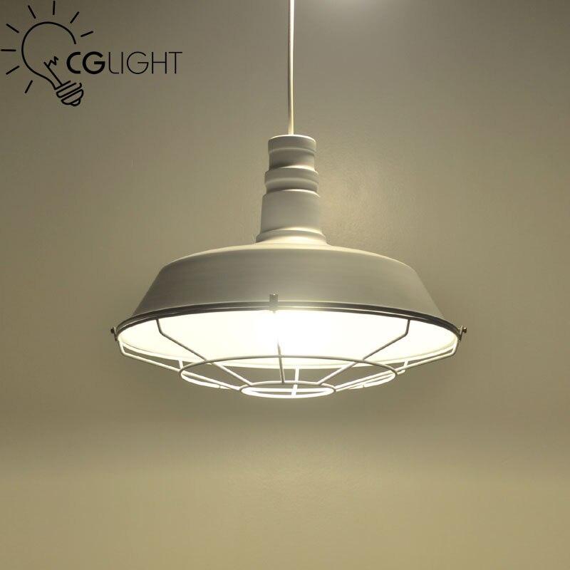 ФОТО E27 Loft industrial pendant light Vintage Pendant Lamp Edison bulb black white Lampshade Lighting Restaurant  Bar Coffee Shop