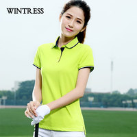 WINTRESS Brand New Women Polo Shirt Short Sleeve Contrast Color Design Summer Breathable Polo Shirt Top Custom Logo