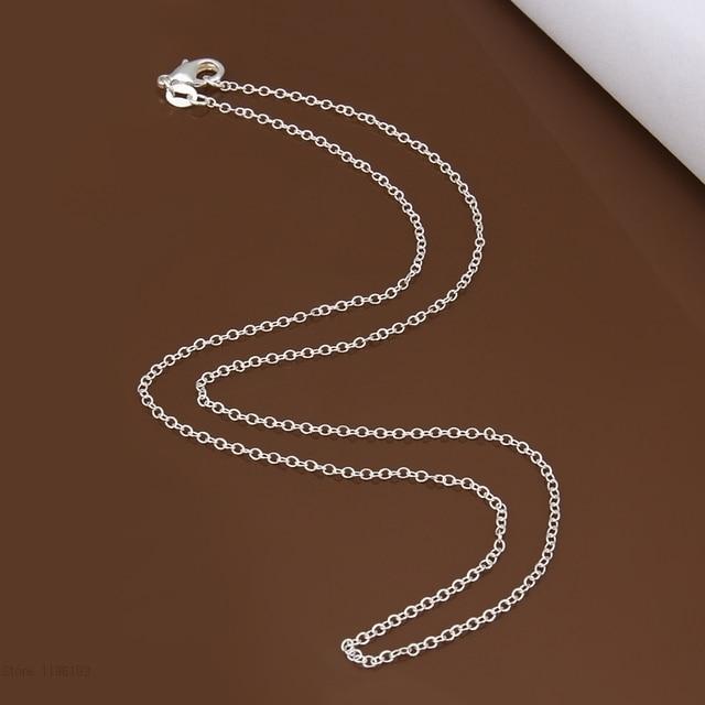 Wielka promocja! Hurtownie 925 tłoczony posrebrzane naszyjnik, srebrna biżuteria łańcuch Rolo 1mm naszyjnik 16 18 20 22 24 cala