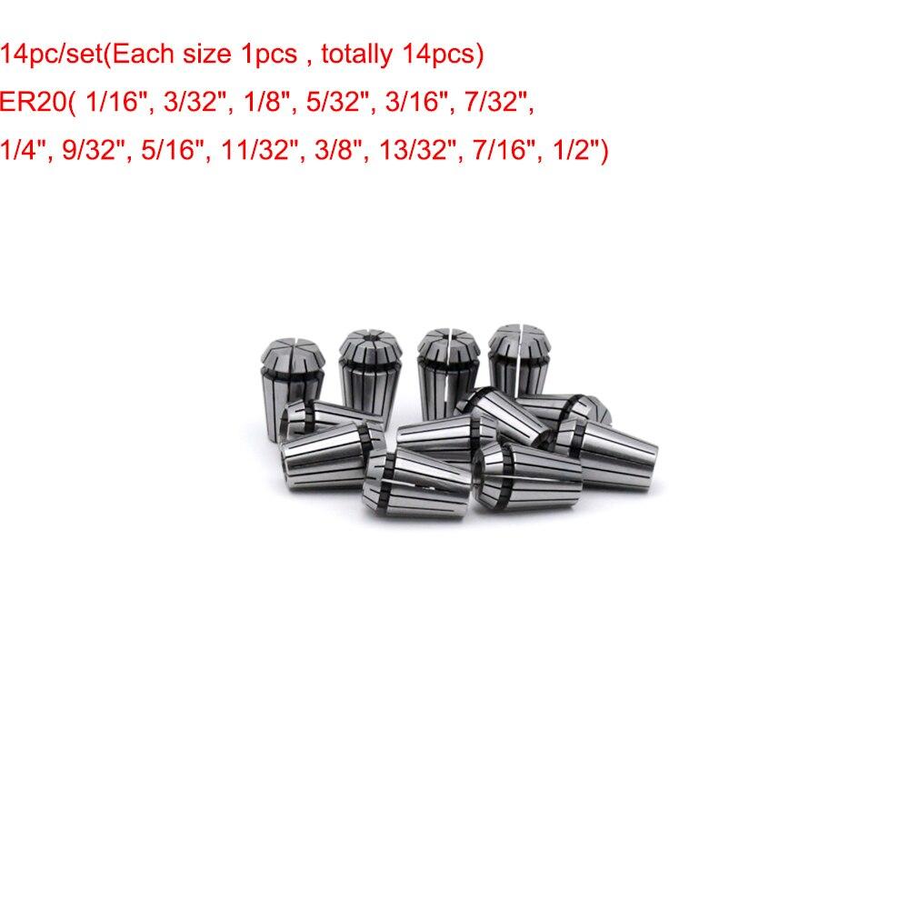 14pcs/set ER20 Spring Collet Set for CNC Engraving Machine and Milling Lathe Tool 1/16