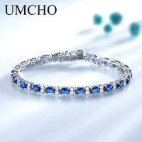 UMCHO Real 925 Sterling Silver Jewelry Oval Created Nano Blue Sapphire Bracelet Romantic Charm Bracelets For Women Gifts