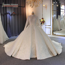 2020 Muslim wedding dress with long sleeves full lining bridal dress