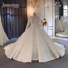 2020 muzułmańska suknia ślubna z długimi rękawami pełna podszewka suknia ślubna