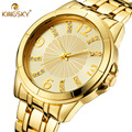 2016 Lady Moda Ouro Relógios Mulheres Se Vestem Relógio de Quartzo de Aço Inoxidável Completa Relógios Mulheres Luxo Marca Relogio KINGSKY