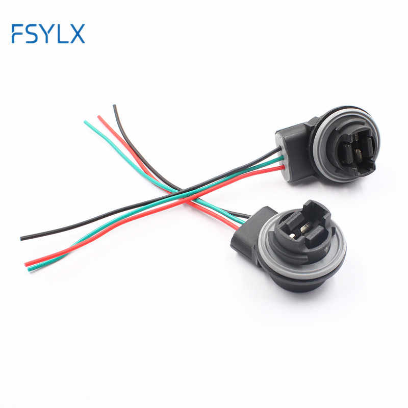 FSYLX 2x 3157 LED Car Auto Bulbs Sockets Harness Plugs Adapters For Replacement Extra Turn Brake Signal Lights Lamps