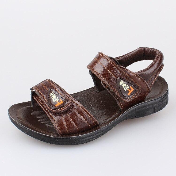 J Ghee Summer Boys Sandals Genuine Leather Boys Beach Shoes Children Shoes Simple Kids Shoes EU 26-30 Big Sale 2 Colors