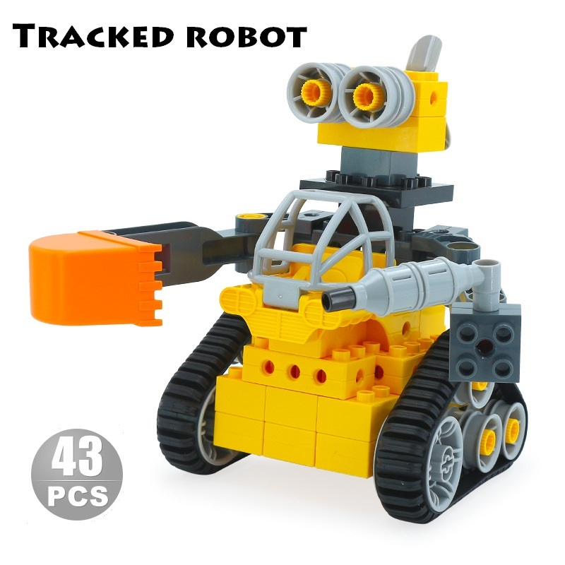 chassis Tracked robot sets DIY Assembly Big size Building Blocks compatible duplo Bricks mechanic science Toys for Children Gift diy tracked robot