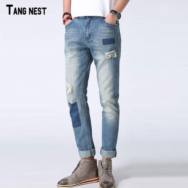 85faf1717d Tangnest hombres jeans patchwork azul claro estilo del resorte pantalones  vaqueros de cintura baja pantalones vaqueros