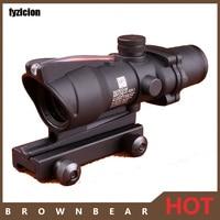 Hunting Black Tan Color Tactical Riflescope ACOG 4X32 SCOPE Fiber Source Red Green Illuminated Scope