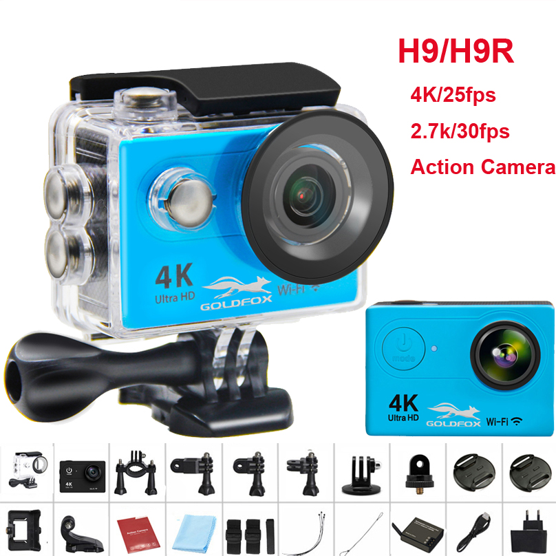GOLDFOX H9/H9R Action camera remote Ultra HD 4K WiFi Camcorder 1080P/60fps 2.0 LCD 170D Helmet Cam go 30M waterproof pro camera akaso ek7000 action camera ultra hd 4k wifi 1080p 60fps 2 0 lcd 170d lens helmet cam waterproof pro sports camera