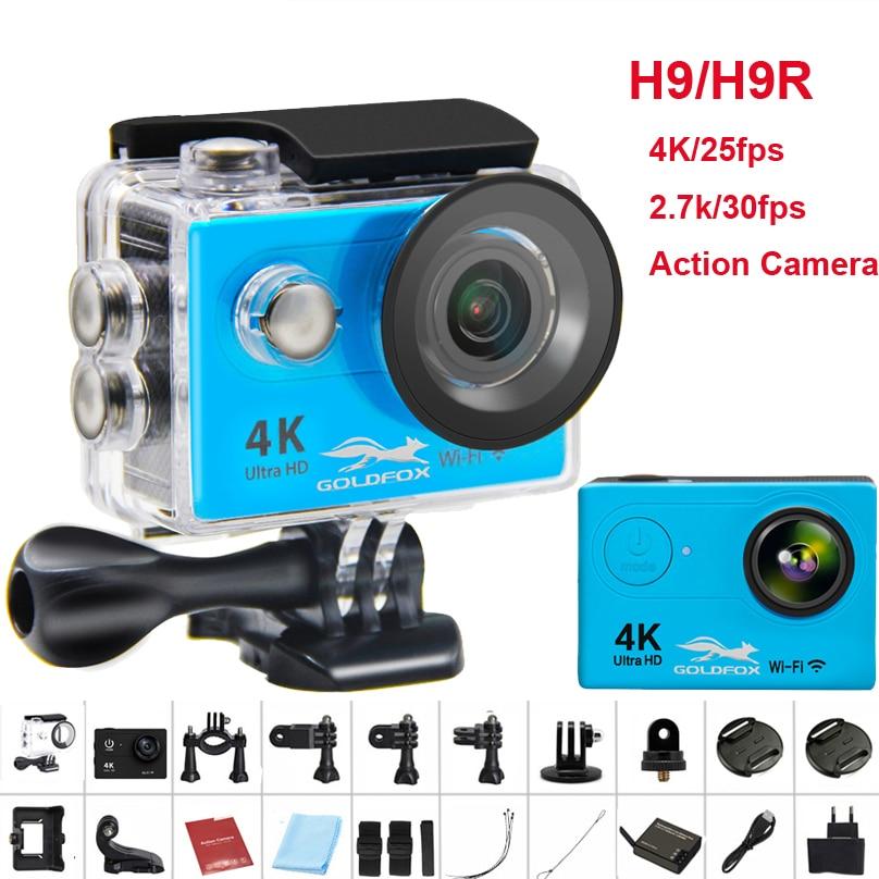 GOLDFOX H9/H9R remoto da câmera de Ação Ultra HD 4 K WiFi Camcorder 1080 P/60fps 2.0 LCD 170D Helmet Cam ir 30 M à prova d' água pro câmera