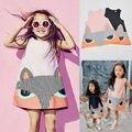 2016 Primavera Verano Fox Niños Vestidos Lindos de La Princesa Niña Vestido de La Manera Ropa de la Historieta 2 Colores Rosa y Negro