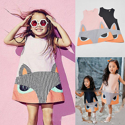 2016 Spring Summer Fox Children Cute Princess Dresses Baby Girl Dress Fashion Cartoon Clothing 2 Colors Pink Balck
