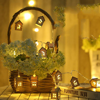 20LED Lamp Ornaments Wooden Hollow Elk House New Year Lights Christmas Decorations For Home Wedding Home Decor Enfeites De Natal