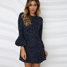 European and American style elegant Polka dot mini woman dresses spring and summer flare sleeve Polka dot chiffon dresses lady цены