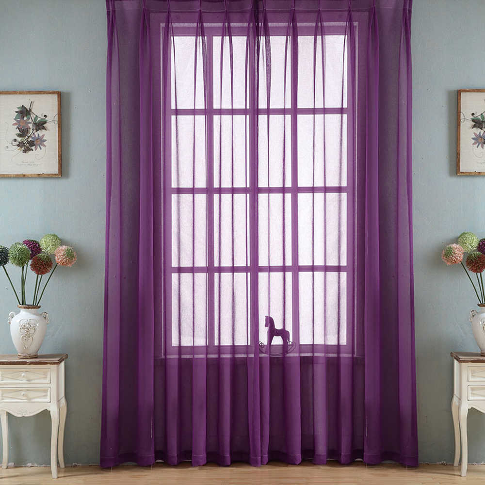 Urijk Solid Color Yarn Curtain Window Pure Color Tulle Curtains For Living Room Kitchen Modern Window Treatments Voile Curtains