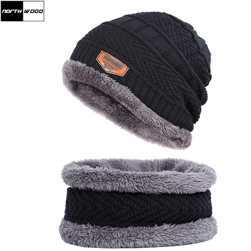[NORTHWOOD] Winter Hat Scarf Caps Plus Velvet Winter Beanie Hats Balaclava Mask Gorras Knitted Cap Bonnet Skullies Beanies
