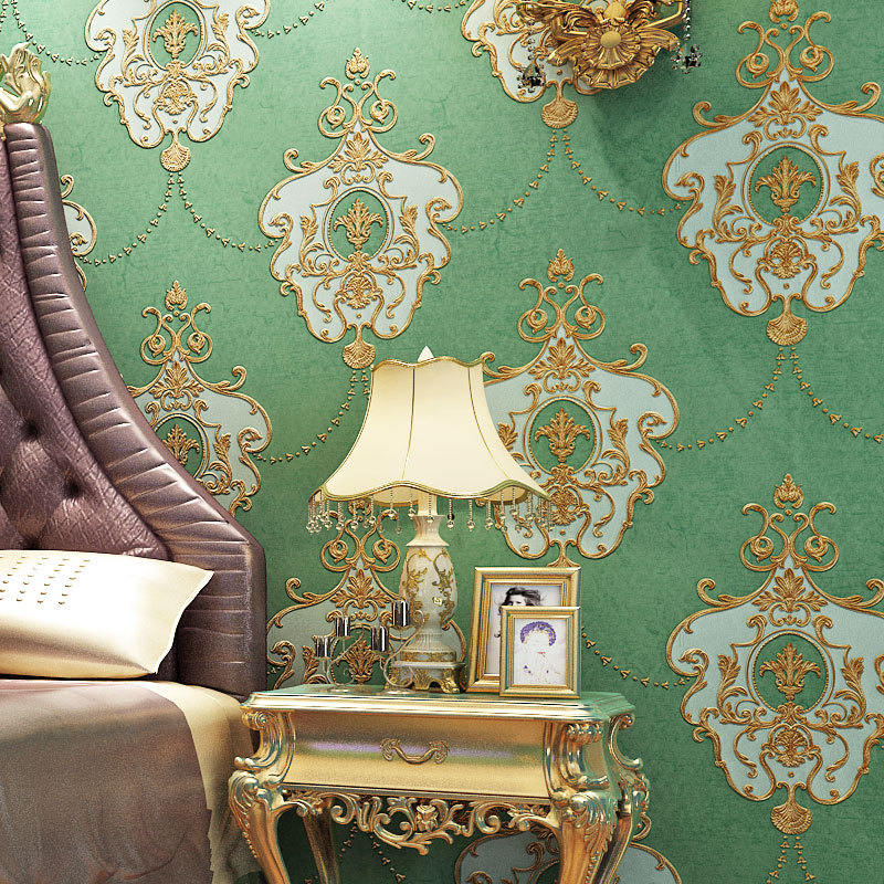 European retro stereo 3D embossed luxury non-woven wallpaper wallpaper green wallpaper bedroom living room home decoration high grade non woven fabric of green chinese trumpet creeper wallpaper europe type restoring ancient ways sitting room bedroom