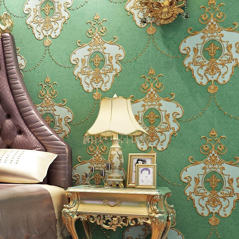 все цены на European retro stereo 3D embossed luxury non-woven wallpaper wallpaper green wallpaper bedroom living room home decoration онлайн