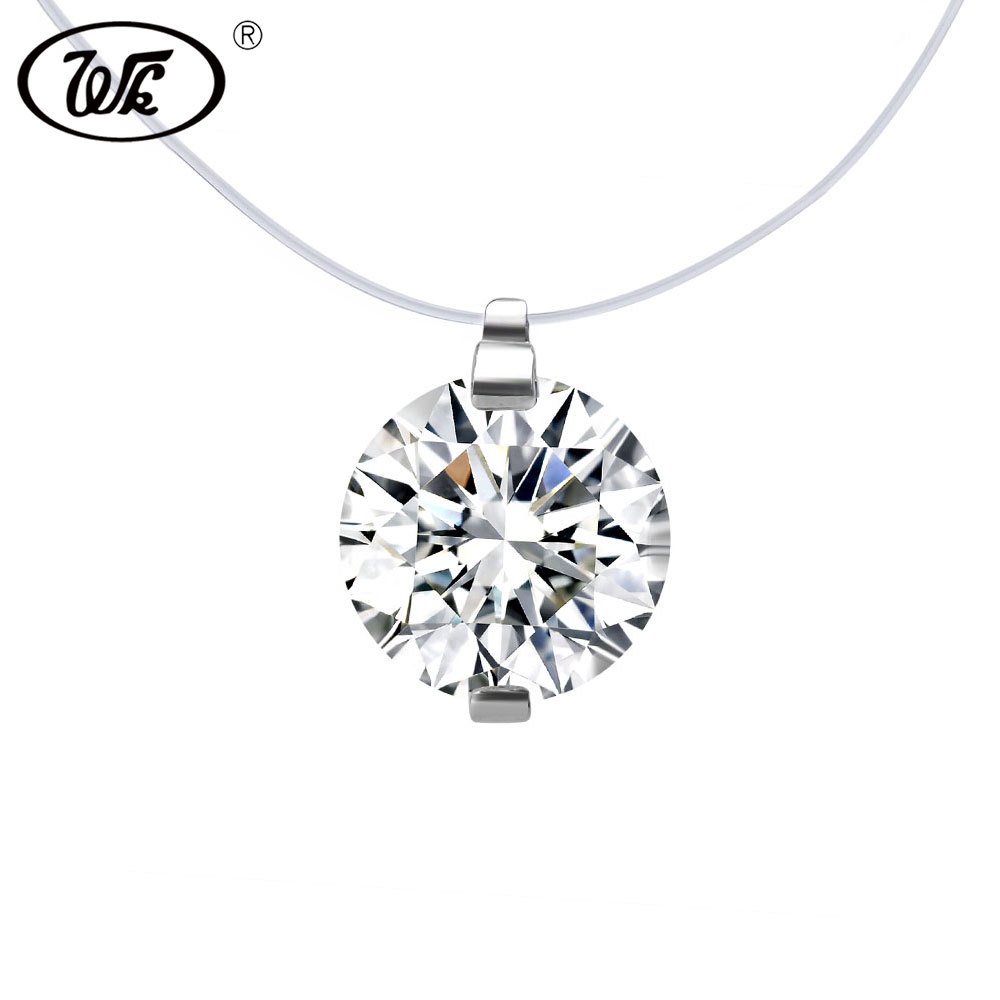 WK Transparent Line Invisible Chain Necklace With 8MM 5A Cubic Zirconia Crystal 925 Sterling Silver Clasp Anti Allergy W4 NB044