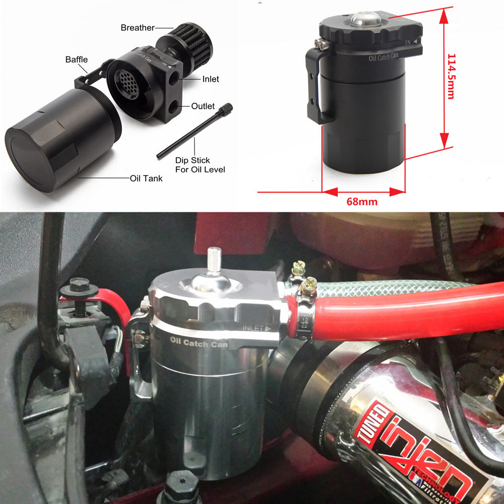 Image 5 - Universal Aluminum Oil Catch Tank Can Reservoir Tank + Breather Filter Color:Black Red Blue Gold Green Silver Purple EP JYH08-in Fuel Supply & Treatment from Automobiles & Motorcycles