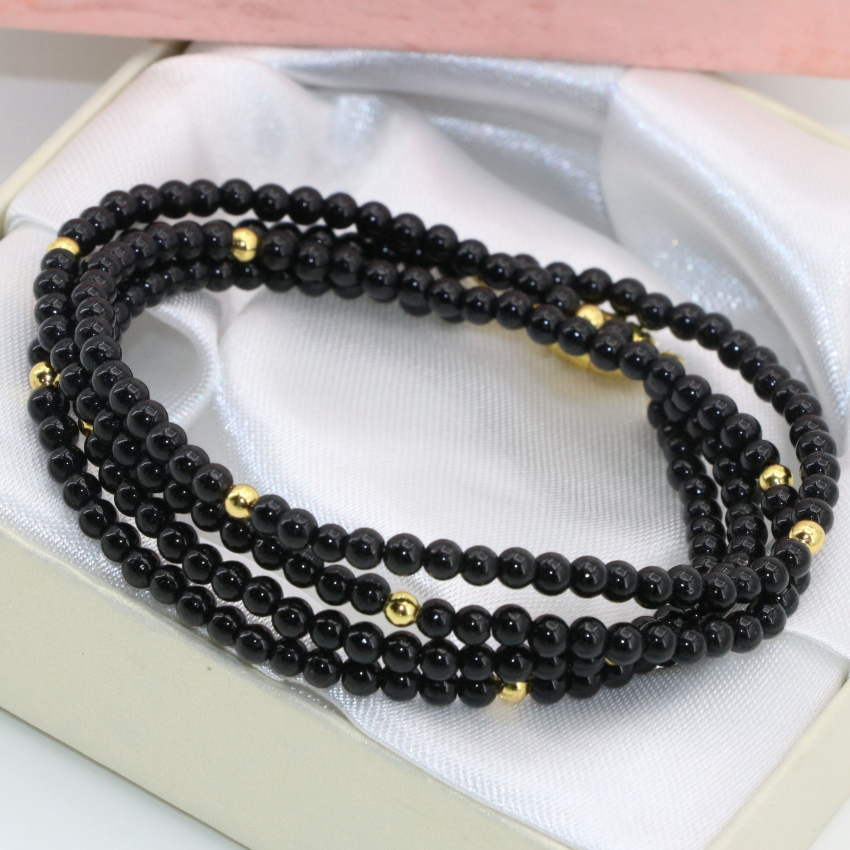 4 rows unique magnetic clasp 3mm natural stone black agat carnelian onyx round beads lon ...