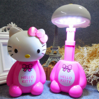 헬로 키티 LED 충전식 테이블 빛 12LED 아이 선물 침실 눈 보호 독서 램프 LED 밤 빛 220 볼트