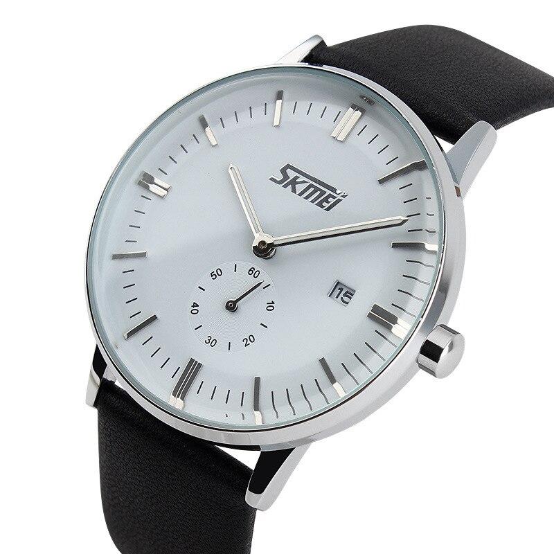 2a69d5c5089 Moda Faux Leather Men relógios de pulso Homem relojes Hour Blue Ray Vidro  de Relógio de