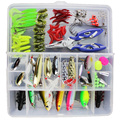 101PCS Fishing Lures Tackle Mixed Hard Baits Soft Baits Popper Crankbait VIB Topwater Floating Fishing Lures Hooks Set with Box