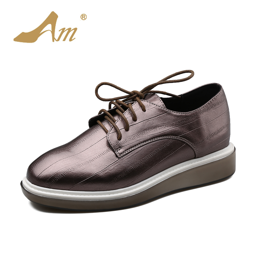 Ame 2017 Autumn new casual flats comfortable lacing up platform oxford retro British style brand shoes