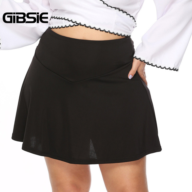 GIBSIE Plus Size Black Elegant Sexy Office Lady A Line Skirt Women 2019 Summer Casual High Waist Mini Skirts Female Big Size 4