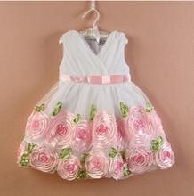Роза платье девушки 2016 летнее платье милый малыш девушка одежда подарок на день рождения девочка одежды платье