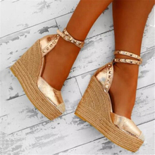 Fashion straw-knitted shoes 2019 Summer Gladiatus Europe United States Explosions Belt Buckle Super High Large Size Women's Shoe
