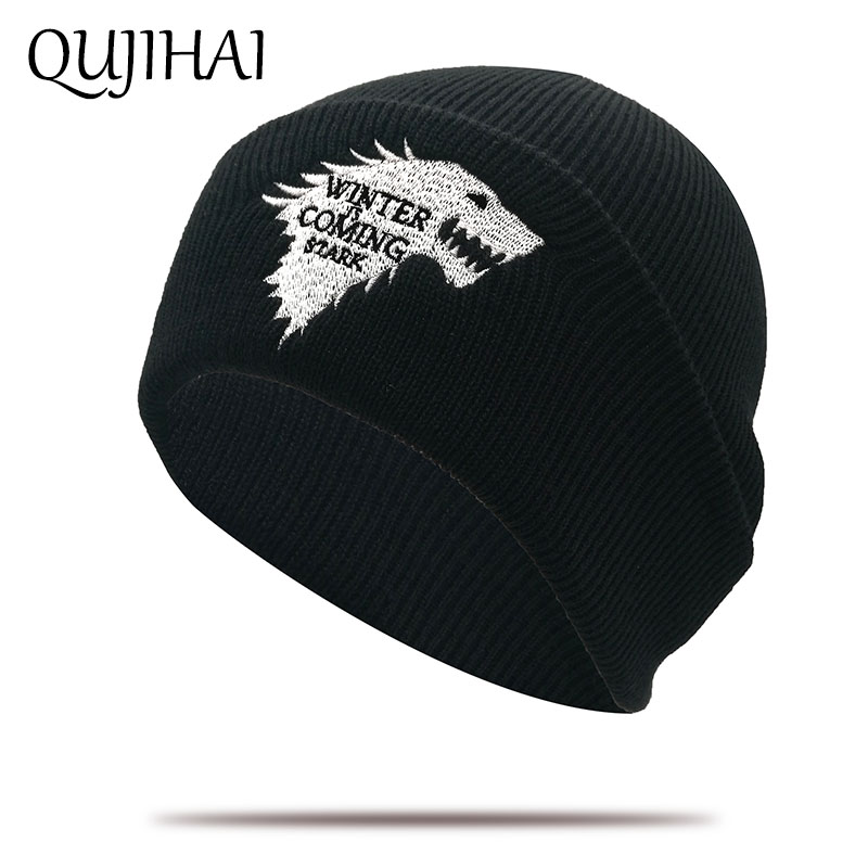 QUJIAHI Winter Hat Brand Game Of Thrones Knitted Beanie Hats For Men Women Skullies Embroidery Dire Wolf Acrylic Beanies Boo Cap