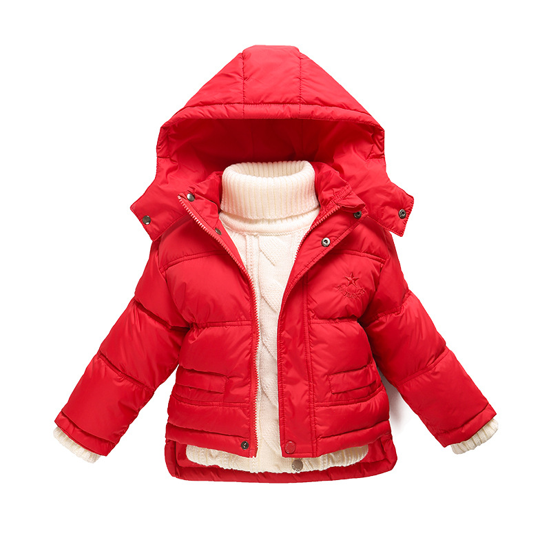 children s down jacket boys girls baby short down coat thickening Winter Outwear removable cap 1