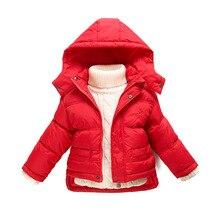 Детская пуховик мальчики девочки ребенок короткий пуховик утолщение Зимняя Верхняя Одежда съемный колпачок 1-6 Год