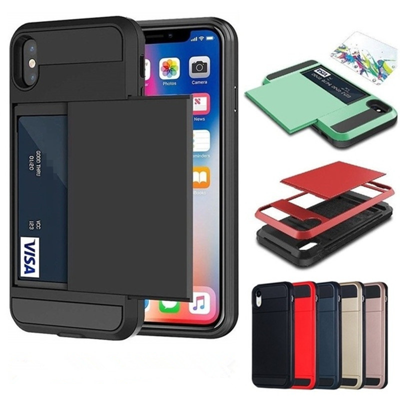 Nytt Hybrid Tough Card Storage Armor Case för Apple iphone 8 7 6 6S Plus 5 5S SE Korthållare Plånbokskåpa för iphone X XS Max XR