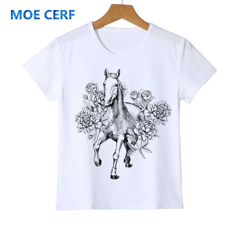 New Fashion Funny Horse Costume Printed T shirt Hand Painted Boy/Girl/Baby Hipster O-neck Cool tee Brand Clothing Y14-10