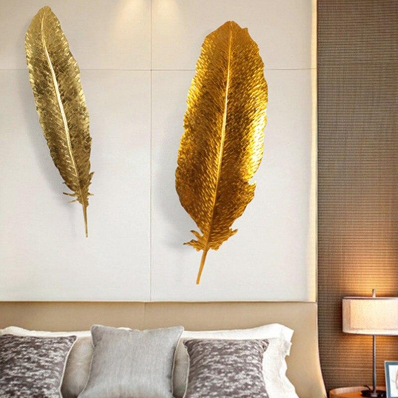 Style européen plume fer Art mur accessoires feuille d'or artisanat salon télévision fond mur Art tentures X1452