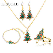 2018 Creative Enamel Xmas Tree Pendant Necklace Drop Earring Bracelet Ring Jewelry Set For Women New Year Christmas Party Gift fashion christmas gold christmas tree jewelry set necklace bracelet earring ring jewelry sets gift for christmas day dropshiping