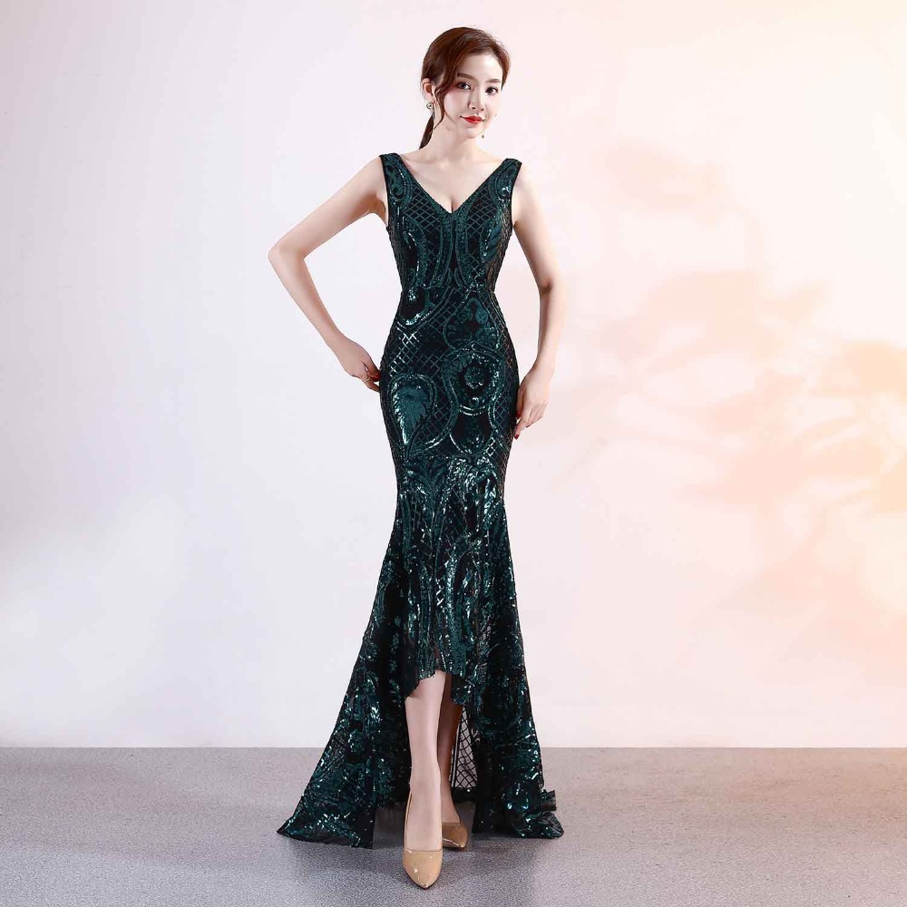 2b2839dd47 Green Geometric Sequin V Neck Tank Long Mermaid Formal Party Dresses Women  Nightclub Wear Elegant Dress For Special Occasions