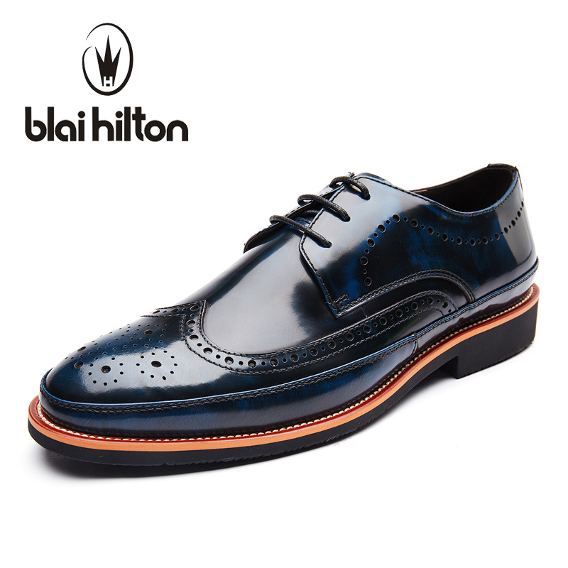 Blaibilton Designer 100% Genuine Leather Patchwork Business Dress Men Shoes Brogue Classic Fashion Mens Shoes Casual Oxfords blaibilton 100% genuine leather elegant formal dress men shoes oxfords business classic office wedding mens casual italian sd710