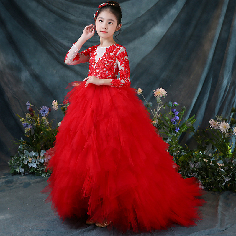 2018 Autumn Luxury Children Toddler Red Color Birthday Wedding Party Princess Lace Mesh Tail Dress S Model Show