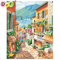 DPF Town Scenery Framed Pictures DIY Painting By Numbers Home Decoration For Living Room Handmade Digital
