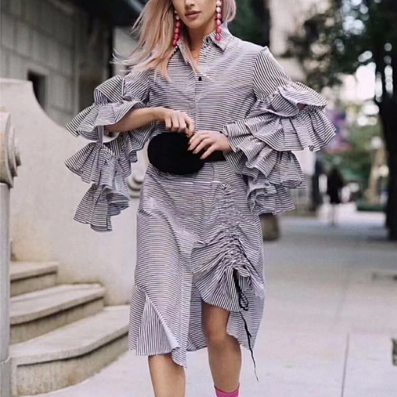 Rayé Robe Tirage pink Ruches Chemise Mode Flare Twotwinstyle Coréenne Robes Patchwork Femmes Sleee Chaîne Irrégulière 2018 Black Printemps KlF1cJ