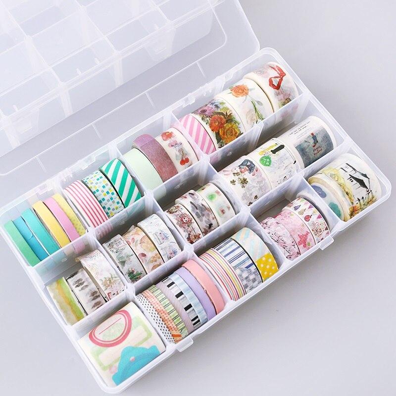 New 15 Grids Plastic Transparent Multi-function Adhesive Tape Washi Storage Box DIY Stationery Tapes Organizer Case Supplies multi function aluminum plastic storage box silver