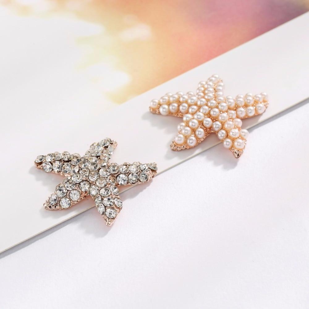 Freies verschiffen 100PCS 28mm metall perle strass kristall seestern tasten strass verzierung flachen rückseite rose vergoldung BTN 5716-in Schaltflächen aus Heim und Garten bei  Gruppe 2