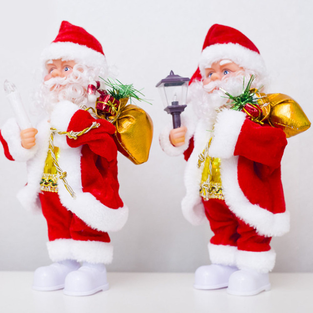electric santa claus doll christmas decorations lovely cartoon singing dancing toys xmas gift supply for home